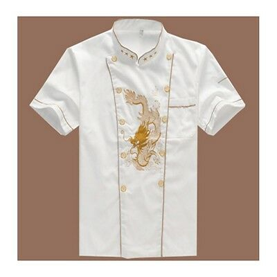 Chef Workwear Uniform Short Sleeve Cook Work Clothes Embroidery Overalls Coat
