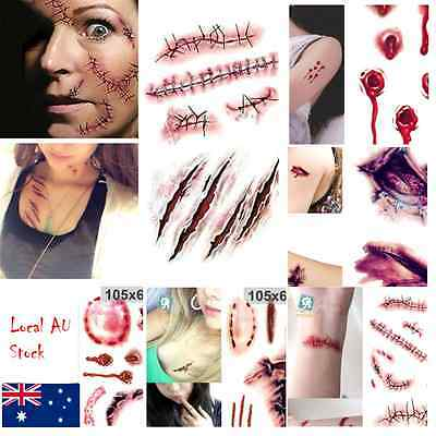 Halloween Zombie Scars Tattoos Fake Blood horror Scary Costume Makeup sticker