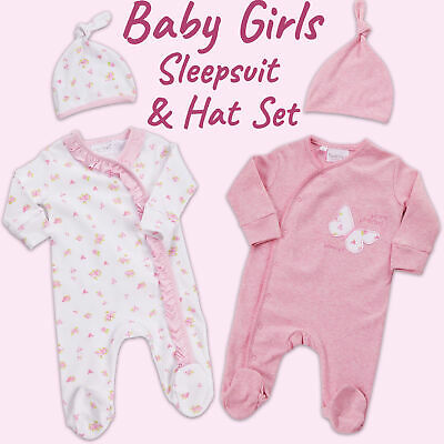 Baby Babies Girls Sleepsuit & Hat Set All-In-One Floral 0-12 Months By BABYTOWN