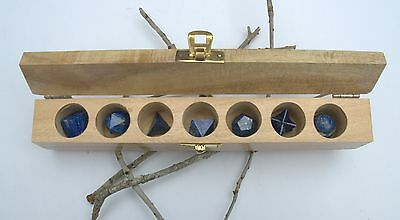 Lapis Lazuli Sacred Geometry 7 Set with Merkaba Star - Free & Fast Shipping