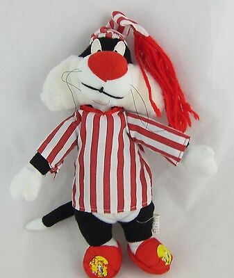 "Sylvester Cat Plush in Red Stripe Pajamas Looney Tunes 9.5"" Tall Stuffed Toy"