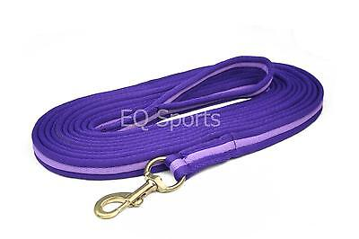 FREE P&P Quality Padded Cushion Lunge Line/ Rein With Handle Purple/Lilac!!