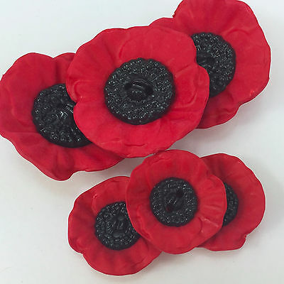 Beautiful Red / Black Poppy buttons - Three sizes sold per ONE  button
