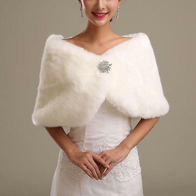 Women's ivory  Faux Fur Cape Wrap Shrug Shawl Coat Wedding Winter shawl