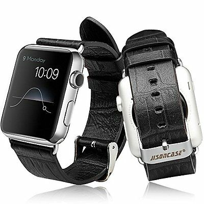 Leather Strap with Adapter for Apple Watch iWatch 38mm Classic Black All Models