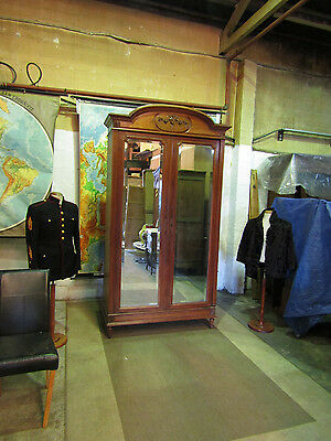 french Floral carved walnut armoire,wardrobe,mirror doors,flat packs.Circa 1890