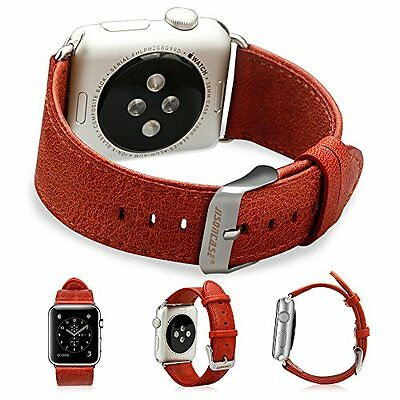 Apple Watch iWatch 38mm Leather Strap with Adapter Classic Red Fits All Models