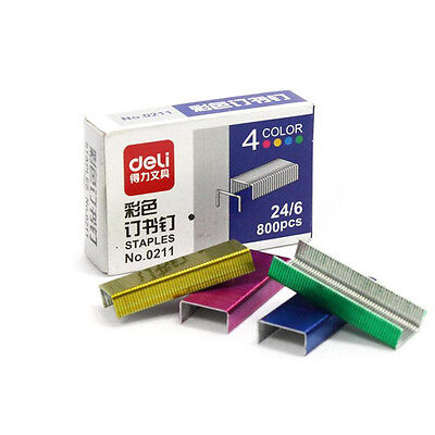 New Deli 0211 4 Colors Colored Steel Staples 12x6mm 12# 24/6 Each Pack is 800pcs