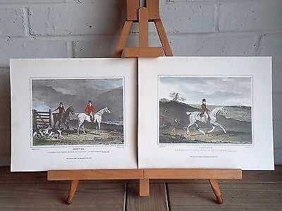 2X Antique Engraved Prints, Hunter & Hackney, Benjamin Marshall, Hand Coloured