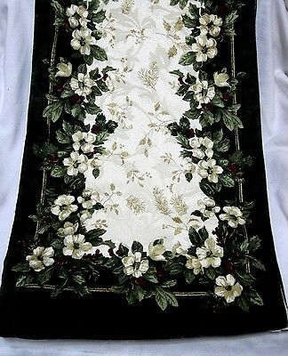 "Reversible Vintage Damask Christmas Table Runner 106"" x 12"" Flowers Pine & Holly"