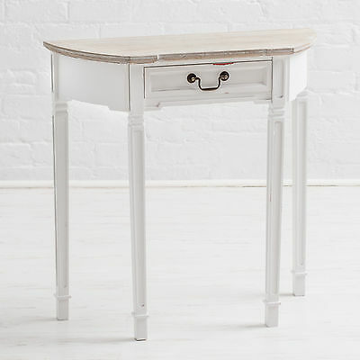 New England Shabby Chic White Painted Demilune, Half Moon Console Table