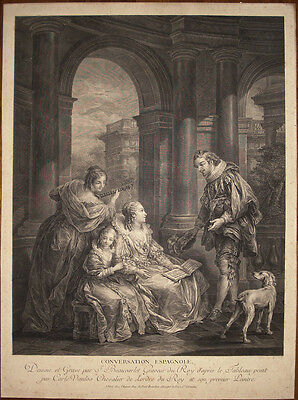 stampa antica Beauvarlet Loo 1754 Conversation Espagnole gravure old print