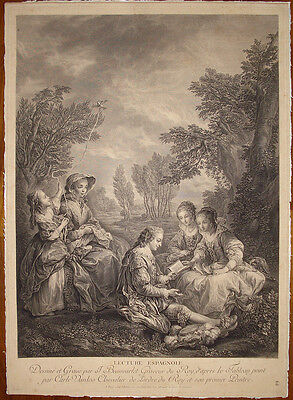 stampa antica Beauvarlet Loo 1754 Lecture Espagnole gravure old print