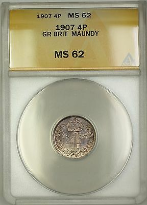 1907 Great Britain King Edward VII Maundy 4P Four Pence Silver Coin ANACS MS-62