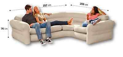 Inflatable Corner Sofa Air Lounger Gaming Chair Seat Flocked Couch Kids Bedroom