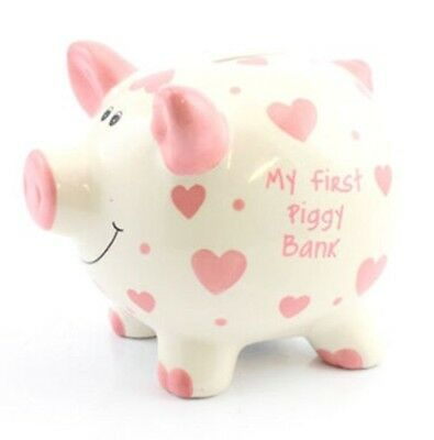 Piggy Bank Baby's 1st Baby Girl Pink Money Box Christening New Baby Gift SALE