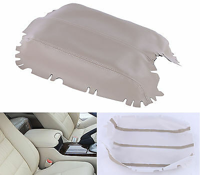 Beige PU Leather Front Console Lid Armrest Cover Skin For 2008-2012 Honda Accord