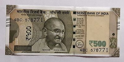 New Rs.500 Rupees Bank Note 2016 Urjit Patel Reserve Bank of India Uncirculated
