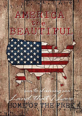 """America the Beautiful Patriotic Garden Flag USA Map Holiday 12.5"""" x 18"""""""