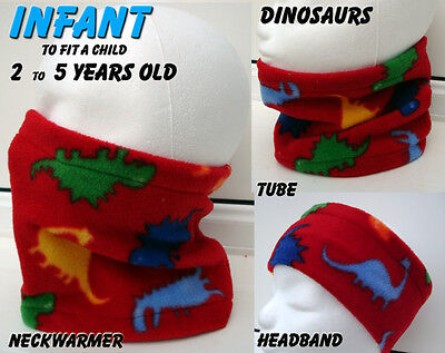 Infant baby RED ANIMAL DINOSAUR DINO NECK WARMER fleece scarf snood toddler boys
