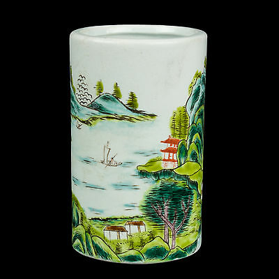 China 20. Jh. Pinseltopf - A Chinese Famille Verte Brush Pot - Chinois Cinese