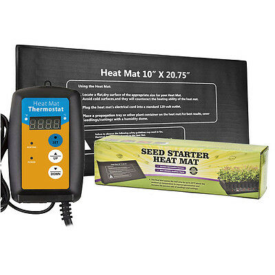 Hydroponic Seedling Heat Mat & Digital Thermostat Combo Set for Seed Germination