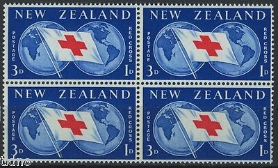 New Zealand 1959, Red cross block of four MNH