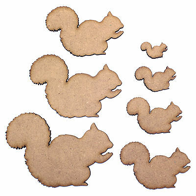Squirrel Craft Shape, Various Sizes, 2mm MDF Wood. Animal, nature