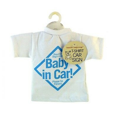 T-Shirt Style Baby On Board Car Sign Blue. Free Delivery