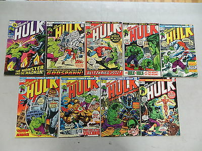 Incredible Hulk 9 Issue Bronze Comic Run Lot 144-178 Marvel
