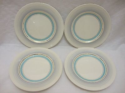 Set of 4 Royal Staffordshire Clarice Cliff BIARRITZ Side Plates Blue/Grey Band