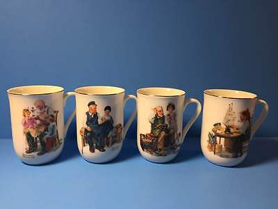 4 Vintage Norman Rockwell Museum Coffee Tea Mugs 1982 The Toymaker The Cobbler