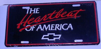 THE HEARTBEAT OF AMERICA with BOWTIE ALUMINUM LICENSE PLATE- USA CHEVROLET CHEVY