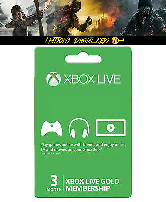Xbox Live Gold 3 Month Membership for Microsoft Xbox One Xbox 360 - Digital Code