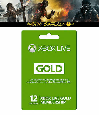 Xbox Live Gold 12 Month Membership for Microsoft Xbox One Xbox 360 Digital Code