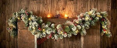 Pre-lit Snowy Christmas Garland 6ft 25 LED warm white