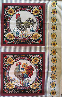 Quilt Cushion Panel Rooster Border Show Bird Quality Fabric Concord Inc Usa