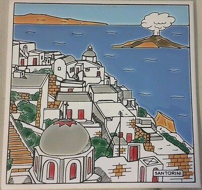 Greek Handmade by Katsidoniotis Decor Enamel Wall Tile 1970s Santorini