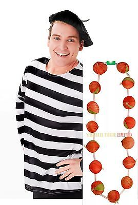 Garland Red Onion French Strings Necklace + Beret Hat Fancy Dress Accessory
