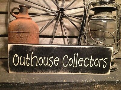 Country Primitive Handmade Wooden Outhouse Collector Sign Home Decor