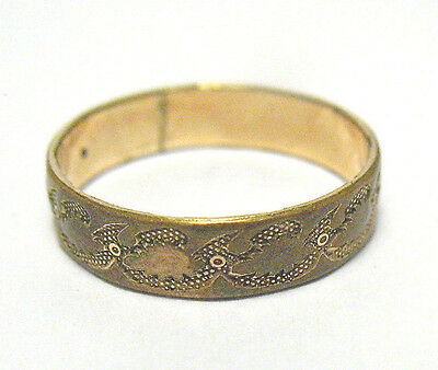Victorian Gold Filled Eternity Band Ring Interesting Patter Size 4