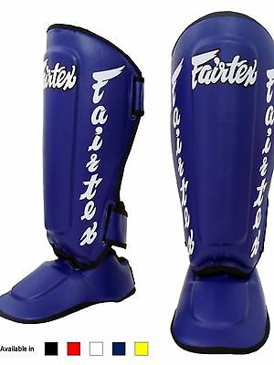 Fairtex Twister Shin Guards / In Steps SP7 Blue Medium Muay Thai MMA Kick Boxin