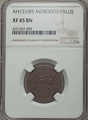 AH 1310 FS 1892 Morocco Falus NGC XF 45, Rare, Over $600 in Krause Catalog