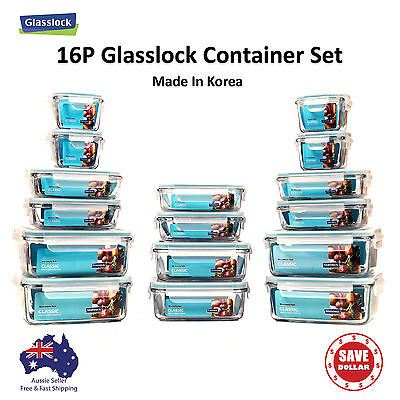 Glasslock 16p Set Tempered Glass Food Container Storage Microwave Safe BPA FREE