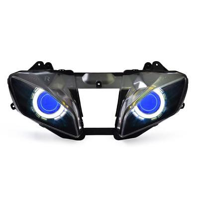 KT LED Angel Halo Demon Eyes Headlight Assembly For Yamaha YZF R6 2008-2016 Blue
