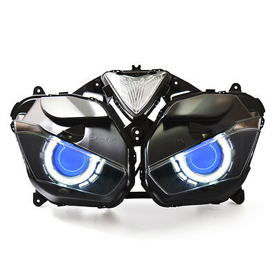 KT LED Angel Halo Eyes Projector Headlight Assembly for Yamaha R3 2015+ Blue Kit