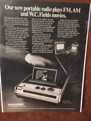 "1970 ""W.C FieldPanasonic Pandora TR-425R Portable  AM/FM Radio TV Photo Print Ad"