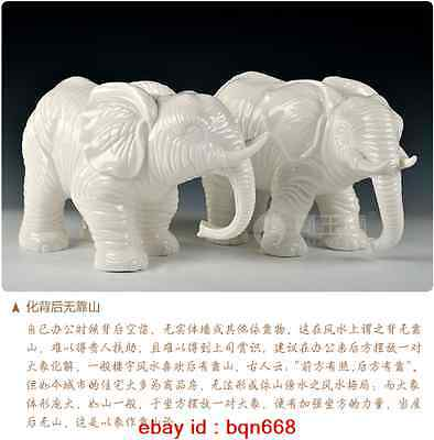 Chinese Dehua White Porcelain Fengshui A Pair of Elephants Wealth Statue