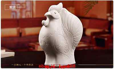Chinese Dehua White Porcelain Unglazed Fengshui Cock Rooster Wealth Statue