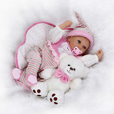 "22"" Silicone Doll Realistic Doll Reborn Baby Lifelike Baby Doll Chidren toys"
